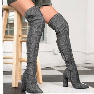 Shoes - ARRIVED pewter Stretch Lurex Thigh High Boots0